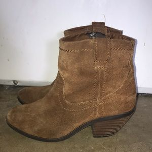 Call it spring camel leather booties 8 women block